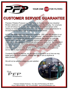 Customer Service Guarantee | Precision Filtration Products
